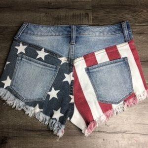 Mossimo Patriotic Americana  Cutoff Jean Shorts